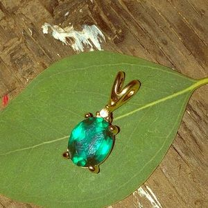 Emerald Green Glass Crystal Pendant W/ CZ accent